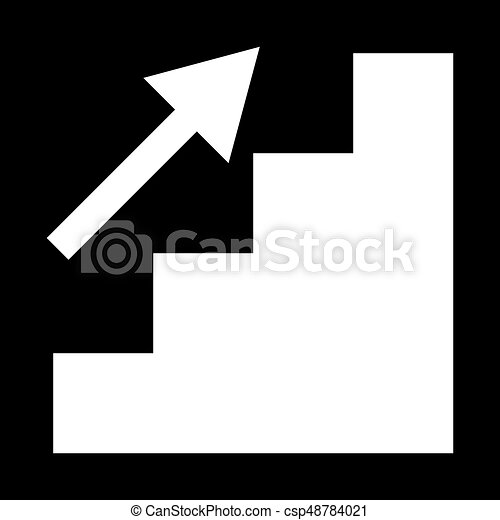 Stairs growth the white color icon . - csp48784021