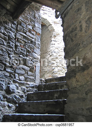 Stairs in a stone tunnel path, come lake, italia. Stairs ...
