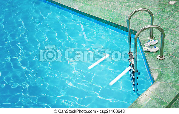 Stairs in the pool - csp21168643