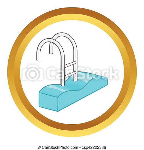 Stairs of the swimming pool vector icon in golden circle vectors