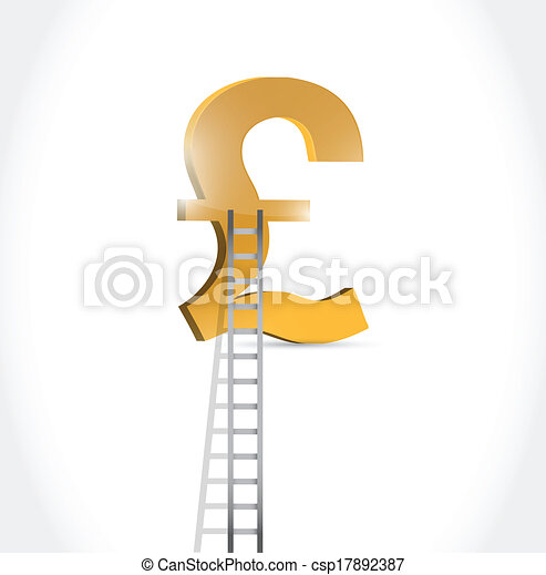 Stairs To British Pound Currency Symbol Illustration Design Over White