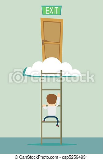 stairs to the exit on the cloud - csp52594931