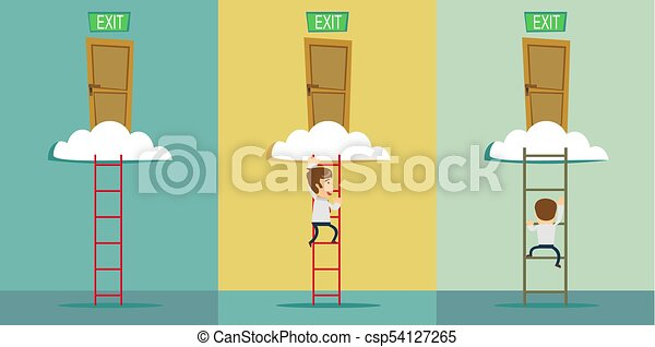 stairs to the exit on the cloud. Set - csp54127265