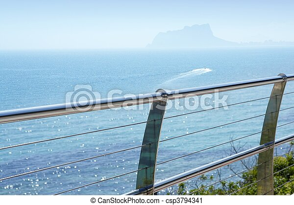 stal, niesplamiony, śródziemnomorski, moraira, morze, balkon - csp3794341