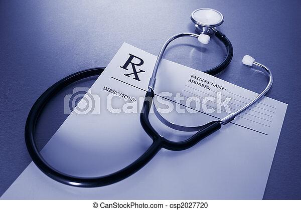 stal, recepta, kształt, niesplamiony, rx, stetoskop, biurko - csp2027720