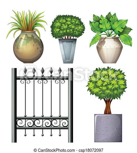stal, rośliny, doniczkowy, brama - csp18072097