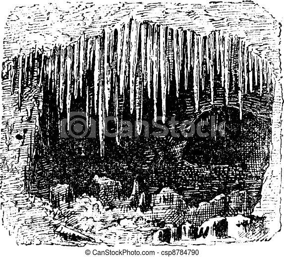 stalactite, caverne, vendange, engraving. - csp8784790