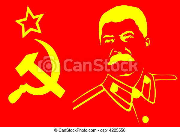 Vector Drawing Of A Hammer And Sickle With A Portrait Of Stalin