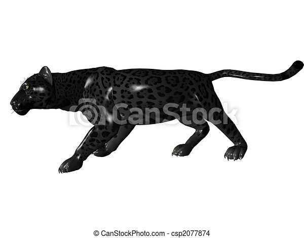 Stalking black panther. 3d rendered image of black panther ...
