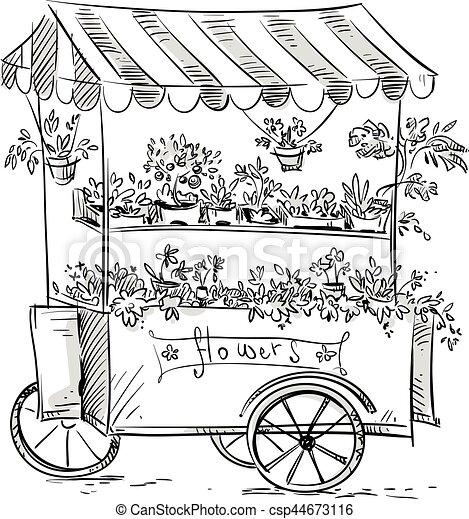 Stalle fleuriste fleur cart fleur stalle - Fleuriste dessin ...