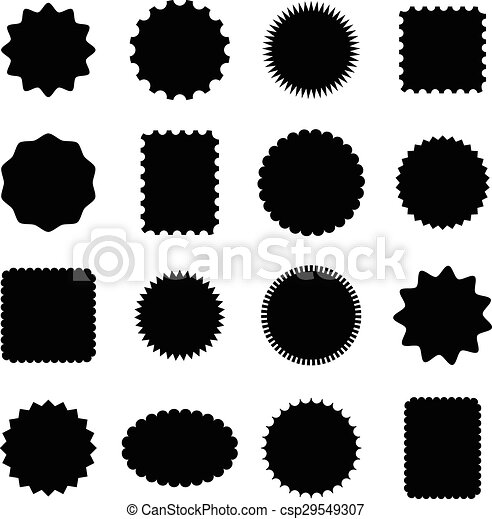 Stamp and frame shapes . Set of 16 stamp and frame shapes isolated ...