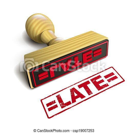 stamp late with red text on white - csp19007253