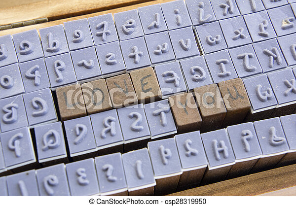 stamp letter alphabet type fonts word concept - csp28319950