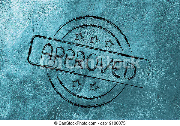 stamp-like design with the word Approved - csp19106075