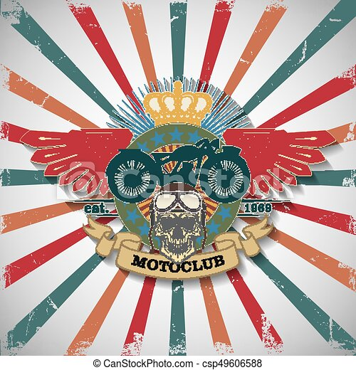 Stamp Moto club with a skull and wings - csp49606588