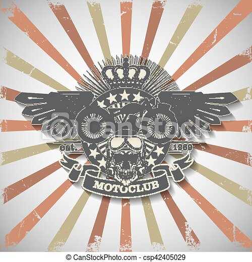 Stamp Moto club with a skull and wings - csp42405029