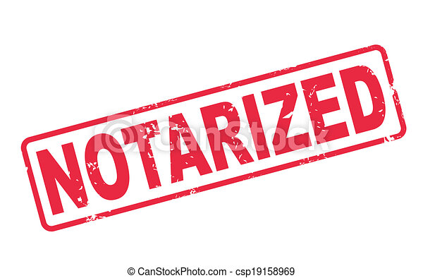 stamp notarized with red text on white - csp19158969