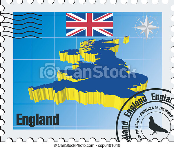3d Map Of England.Stamp Of England