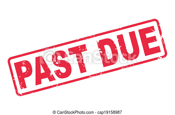stamp past due with red text on white - csp19158987