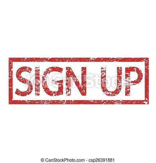 Stamp text SIGN UP - csp26391881