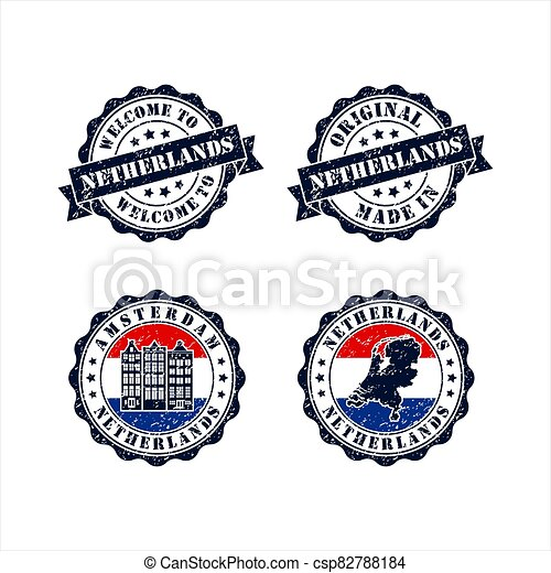 Stamp welcome to Amsterdam Netherlands Collection - csp82788184