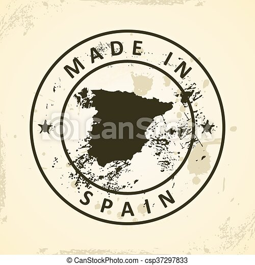 Stamp with map of Spain - csp37297833
