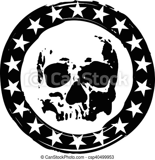 Stamp With Skull Abstract Vector Illustration Grunge Round