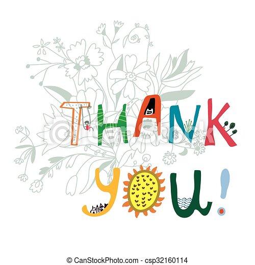 stampa, iscrizione, lei, fiori, ringraziare - csp32160114