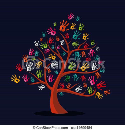 stampe, albero, multi-etnico, colorito, mano - csp14699484