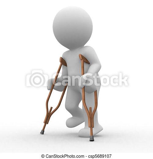 Stampella 3d stampella passeggiata umano ferito for Disegno 3d free