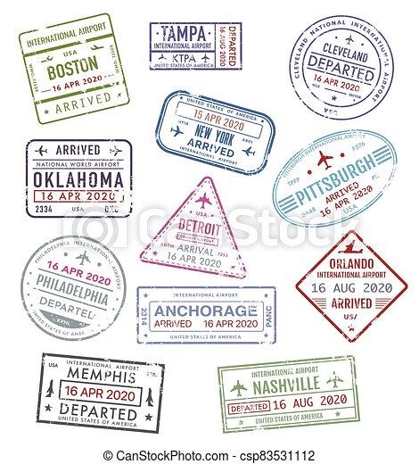 Stamps of USA, passport travel visa US airport - csp83531112
