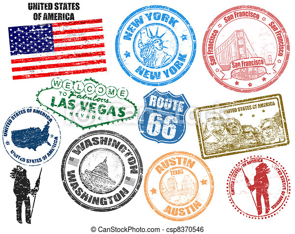 Stamps with United States of America - csp8370546
