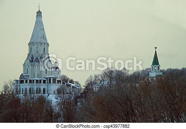 stan, królewski, kolomenskoye, kościół, podniesienie, biały, dawny - csp43977882