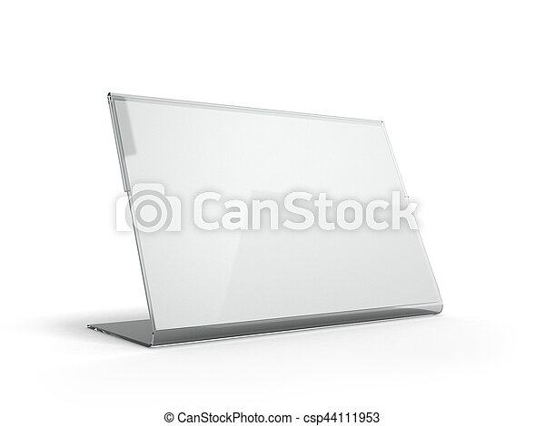 Stand for menu with white sheets of paper on a white background - csp44111953