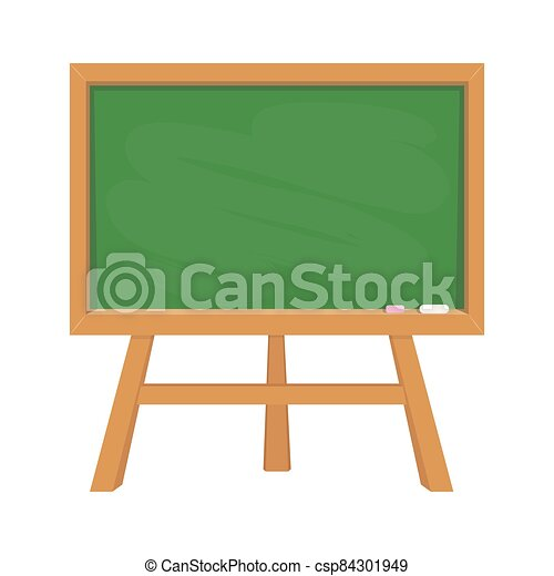 Stand green school blackboard with wooden frame like education symbol for design on white, stock vector illustration - csp84301949