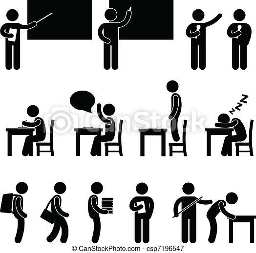 stand, schoolruimte, student, leraar - csp7196547