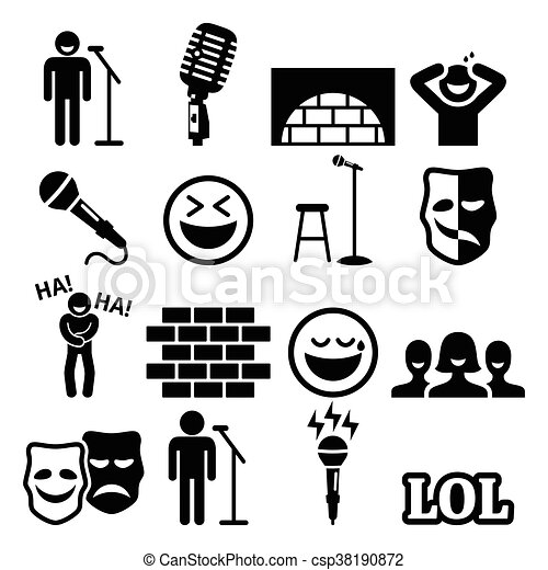 Stand Up Comedy Entertainment Icon Vector Icons Set Of