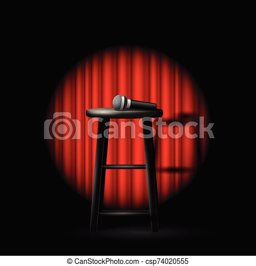 Miraculous Stand Up Comedy Show Microphone And Stool In Ray Of Spotlight And Drop Curtain Gmtry Best Dining Table And Chair Ideas Images Gmtryco