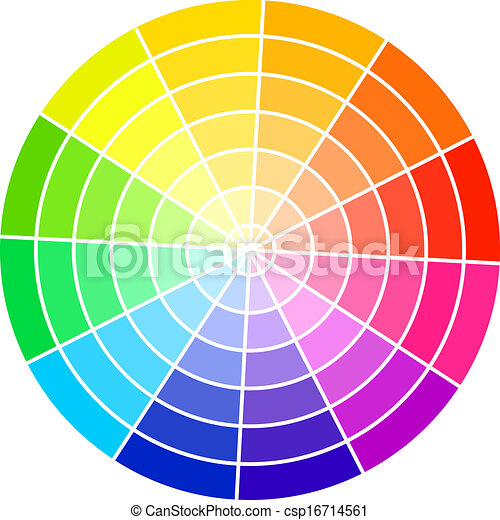 Standard color wheel isolated on white background vector illustration. - csp16714561