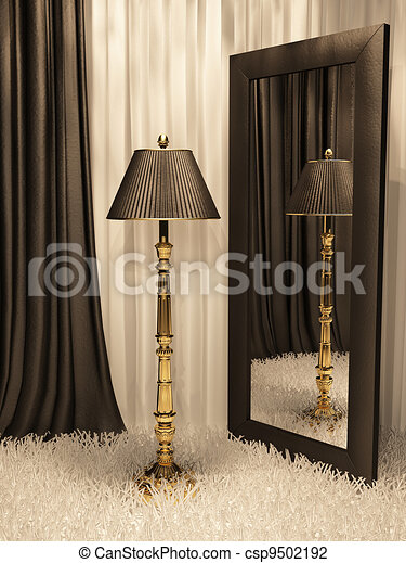 standard lamp with mirror and carpet in luxurious interior - csp9502192
