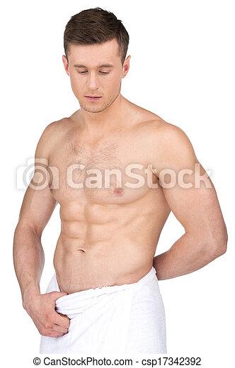standing, adattare, nudo, towel., isolato, fondo, sexy, bianco, sopra, uomo - csp17342392