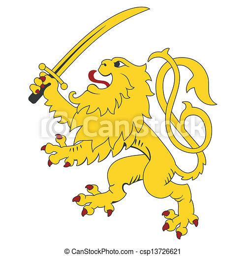 standing, araldico, leone - csp13726621
