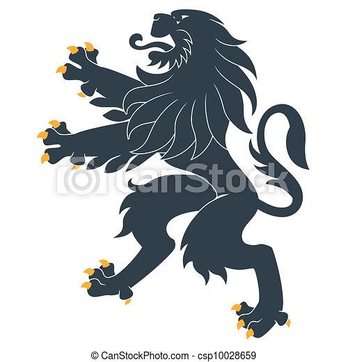 standing, araldico, leone - csp10028659