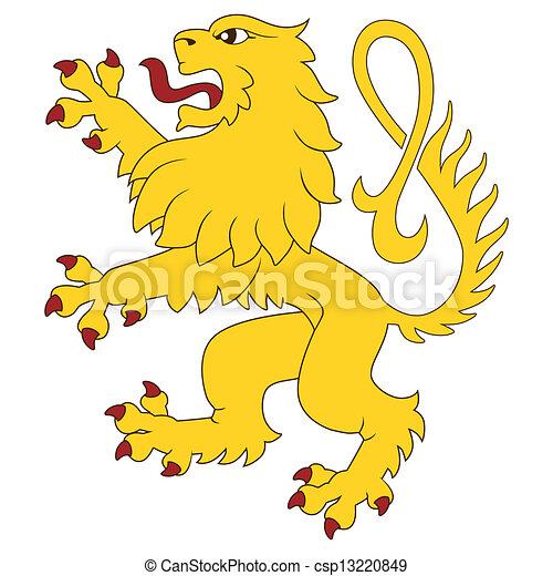standing, araldico, leone - csp13220849