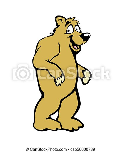 Standing bear. Color vector flat illustration on white background. - csp56808739