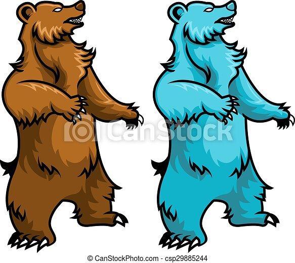 standing bear vector illustration of brown bear and polar bear