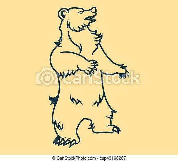 standing bear line art vector line art illustration of bear
