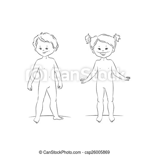 Standing boy and girl, front view - csp26005869