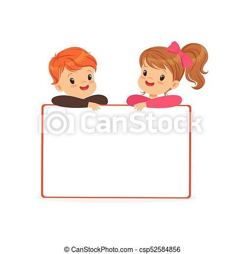standing, carino, bambini, cartellone, ragazzo, bianco, illustrazione, dietro, vettore, caratteri, bacheca, ragazza, vuoto - csp52584856