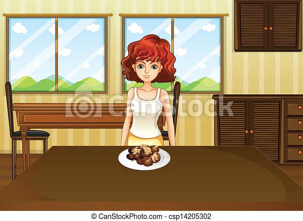 standing, cibo, tavola, fronte, sexy, ragazza - csp14205302